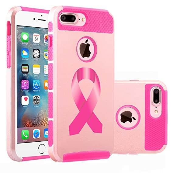 sale retailer 24b92 78cab For Apple iPhone (7 Plus) Shockproof Impact Hard Soft Case Cover Breast  Cancer Color Awareness Ribbon (Rose Gold-Hot Pink)