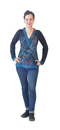 WOMEN/'S LONG SLEEVED DRESS WITH V-NECK DESIGN AND EMBROIDERY