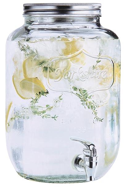 Estilo de cristal Mason Jar Bebidas Dispensador de bebida con espiga sin fugas, 2 Gallon