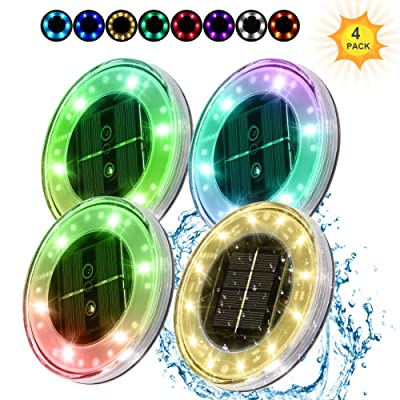 LUNSY Solar Ground Lights Motion Sensor Disk Lights Outdoor Waterproof IP68 18LED with RGB Colored+Warm White Auto Turn On/Offfor Patio Pathway Lawn Yard Swimming Pool and More -4pack : Garden & Outdoor
