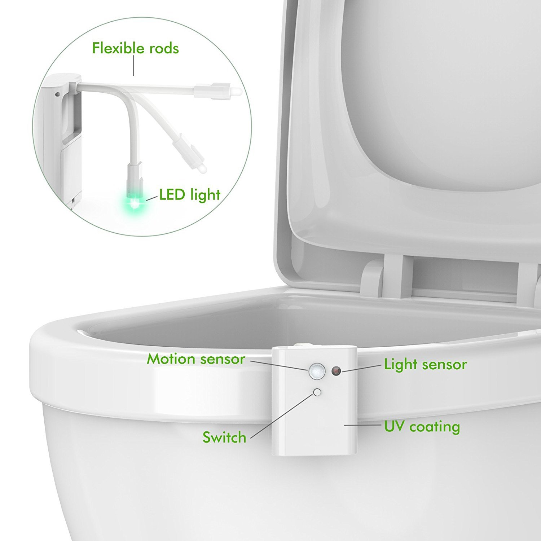 Para inodoro luz de noche, Arvin Sensor de movimiento LED inodoro luz de noche Sensor Auto asiento de inodoro luz iluminación de la lámpara funciona con ...