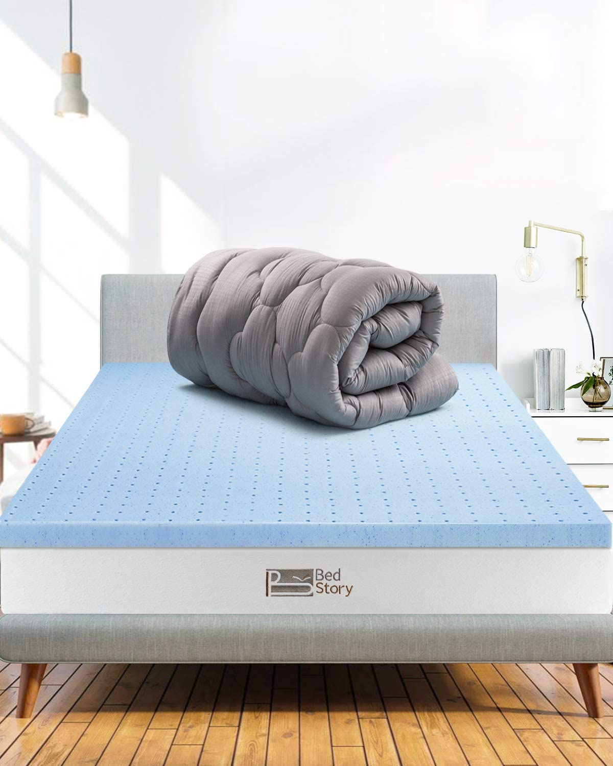 BedStory 4 Inch Mattress Topper Dual-Layer Gray 2-in-1 Combination of Comfort and Support Queen Size Pillow Top /& Gel Memory Foam Bed Toppers
