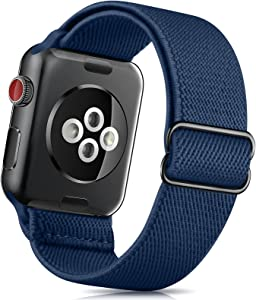 ZALAVER Stretchy Solo Loop Band Compatible with Apple Watch Bands 38mm 40mm 42mm 44mm, Nylon Adjustable Braided Sport Elastics Wristband Compatible with iWatch Series 6/5/4/3/2/1 SE Women Navy Blue