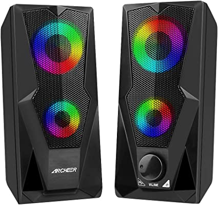 archeer casse pc, 10w altoparlante usb stereo speaker 2.0 rgb gaming cassa portatile per notebook tv laptop