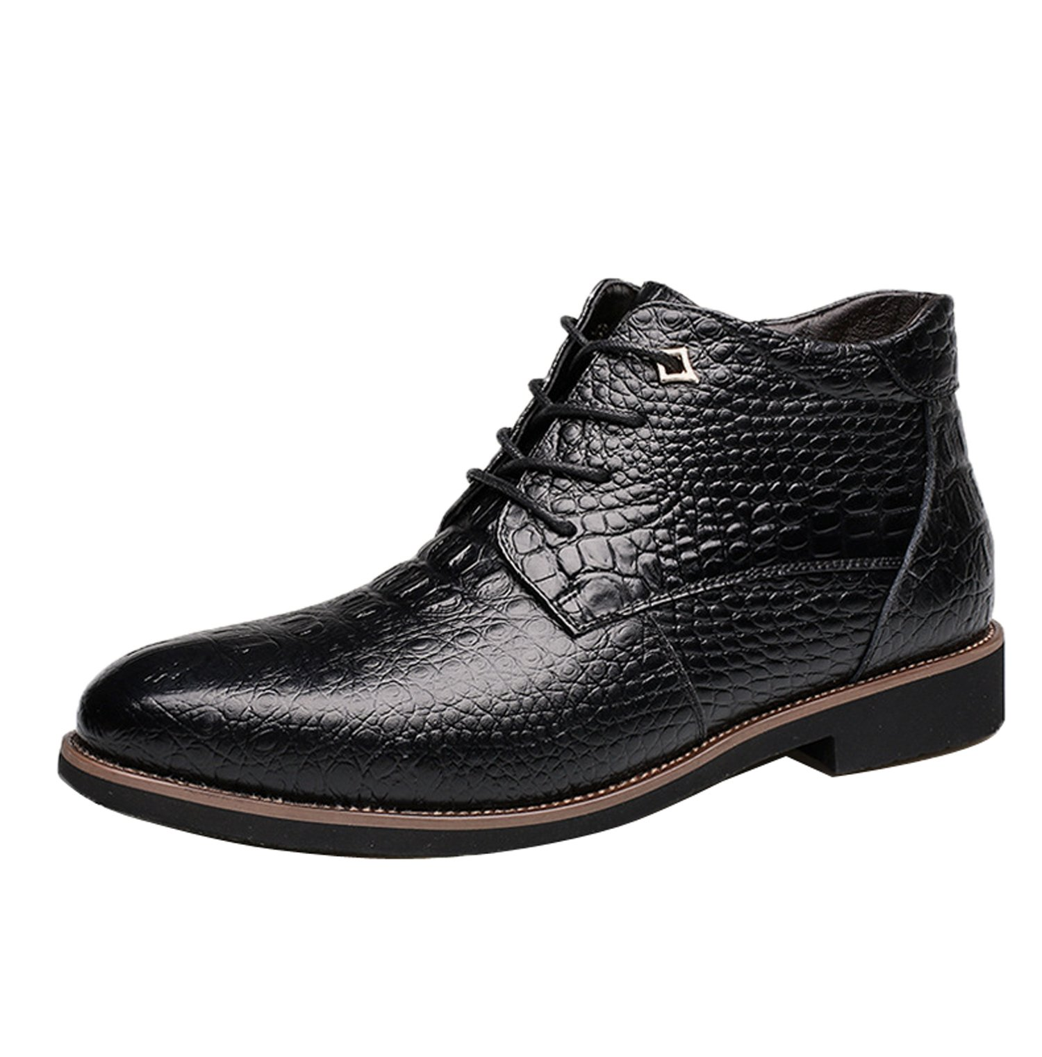 Gaorui Men Winter Warm Fur Lined Leather Snow Boot Alligator Business Dress Formal Shoe Black by Gaorui