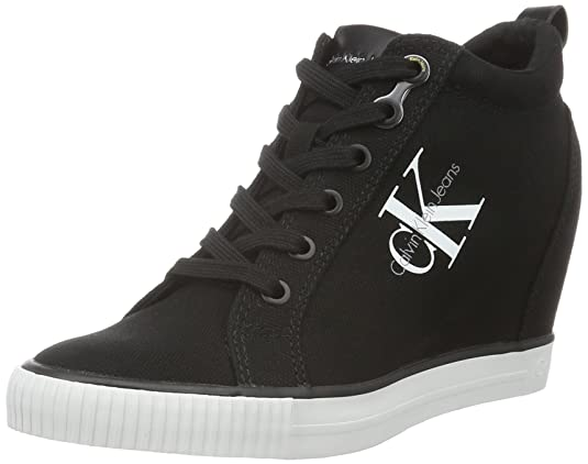 Amazon.com | Calvin Klein Womens Ritzy Canvas Blk Hi-Top Trainers | Fashion Sneakers