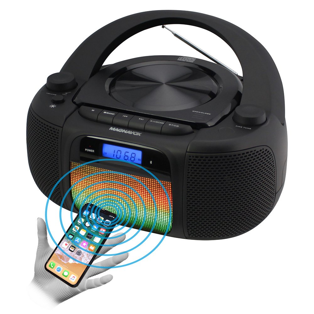 Magnavox MD6972 CD Boombox with Digital AM FM Radio Color Changing Lights and Bluetooth Wireless Technology by MAGNAVOX
