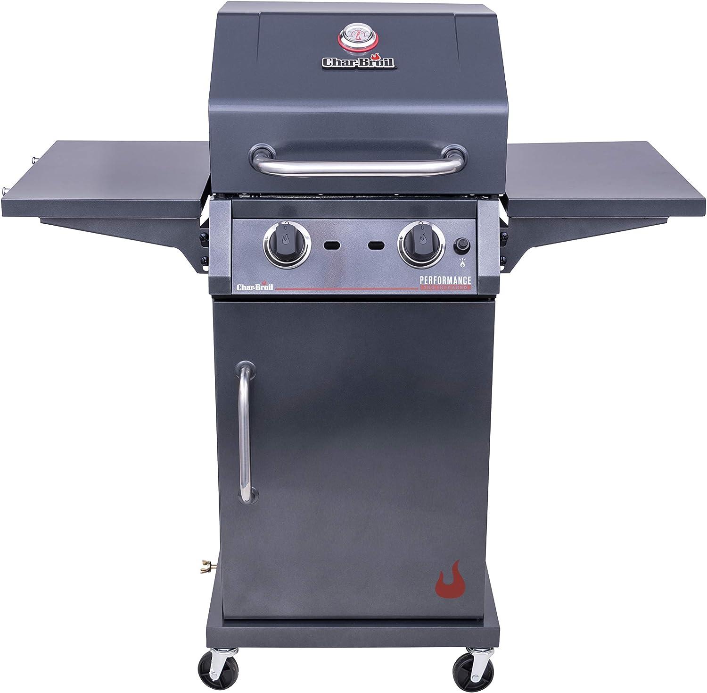 Amazon Com Char Broil 463655621 Performance Tru Infrared 2 Burner Cabinet Style Liquid Propane Gas Grill Metallic Gray Garden Outdoor