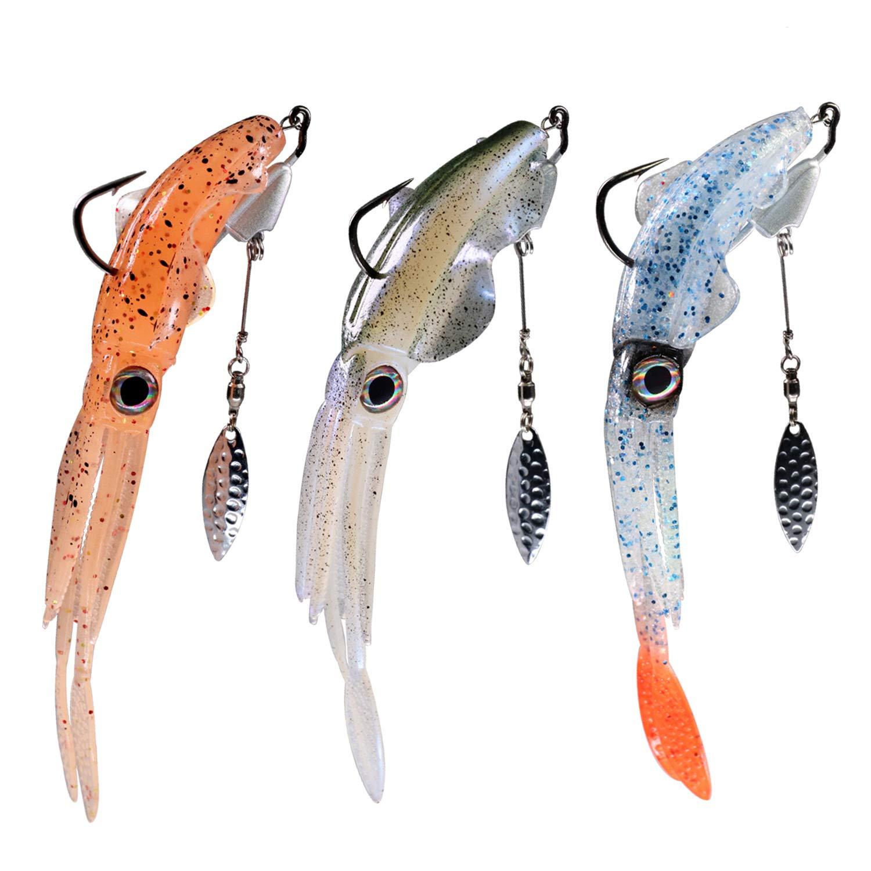THKFISH 3 Pezzi Esche da Pesca per Acqua salata ami sottotorno con ami appesantiti 3 Esche per Calamari fosforescenti