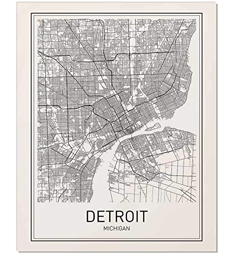 Amazon.com: Detroit Poster, Detroit Map, Map of Detroit, Detroit Art ...