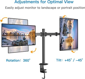 Huanuo Dual Monitor Stand (Adjustable VESA Bracket with C Clamp)