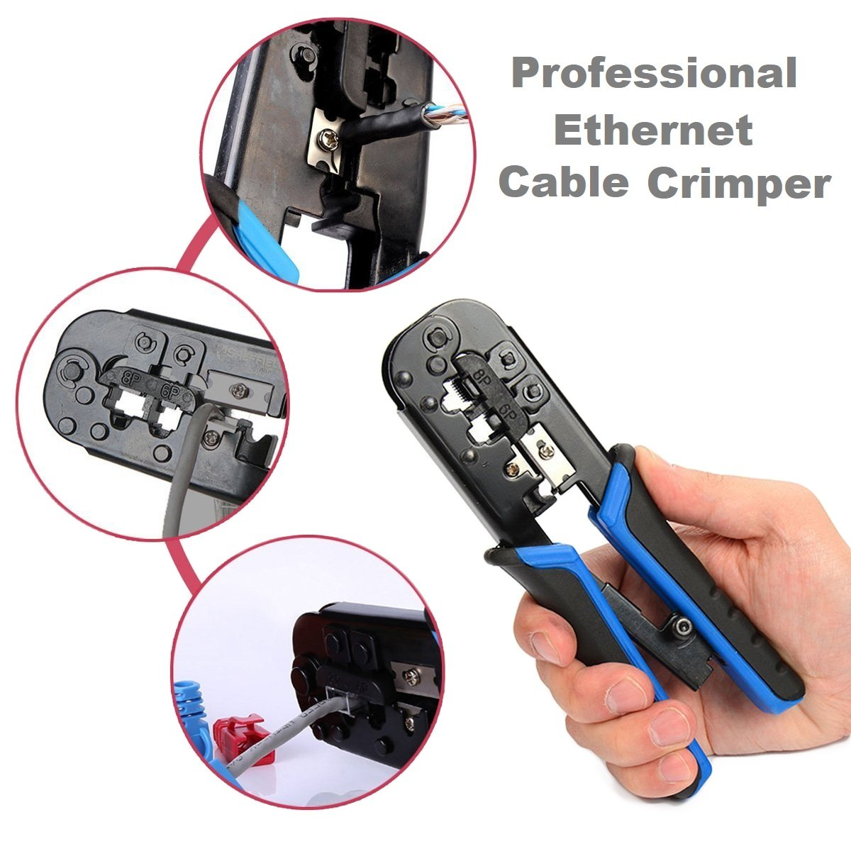 Bluebeach Home Diy Ethernet Crimping Tool Rj45 Rj12 And Rj11 Network Wiring Wire Crimper Stripper Cutter Cutting