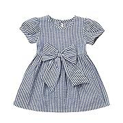 Cenhope Infant Baby Girls Striped Bowknot Short Sleeve Princess Dress (Blue, 6-12 Months)