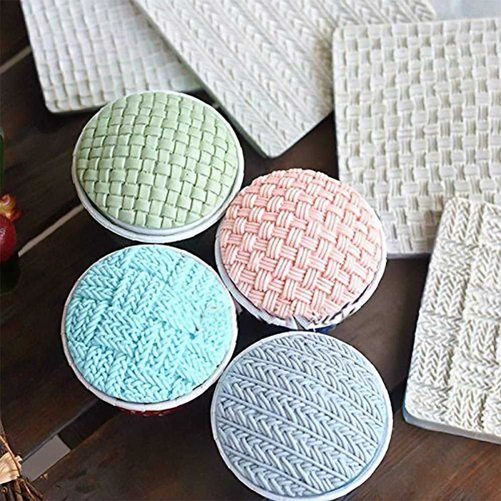 Wocuz Set of 4 Fondant Impression Mat Knitting Sweater & Crochet Texture Embossed Design Silicone Cake Cupcake Decorating Supplies molds by Wocuz (Image #2)