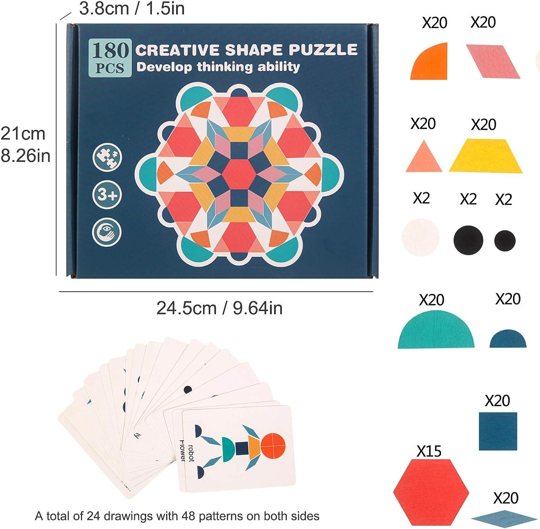 Tangrams Geometric Jigsaw Brain Teaser Toy Game BLATOMY 180 PCs Wooden Pattern Puzzle Blocks Geo Montessori Preschool Building Blocks Set Learning Activity STEM Gift for Kids