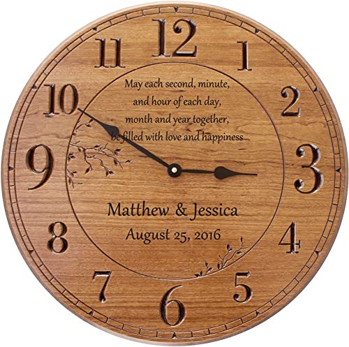 PGD Personalized Wall Clock, 17 in. Wall Clock, Customized for Anniversary – May Each Second