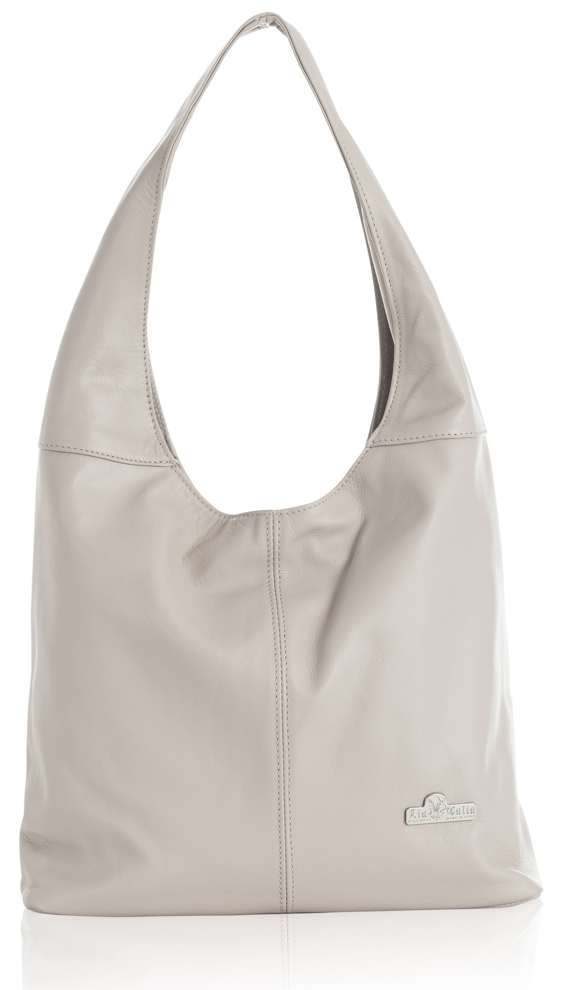 ''Olivia'' by LiaTalia Genuine Italian Soft Leather Medium Hobo Shopper Shoulder bag with Protective Dust Bag [Pale Pink] by LiaTalia Vera Pelle Made In Italy