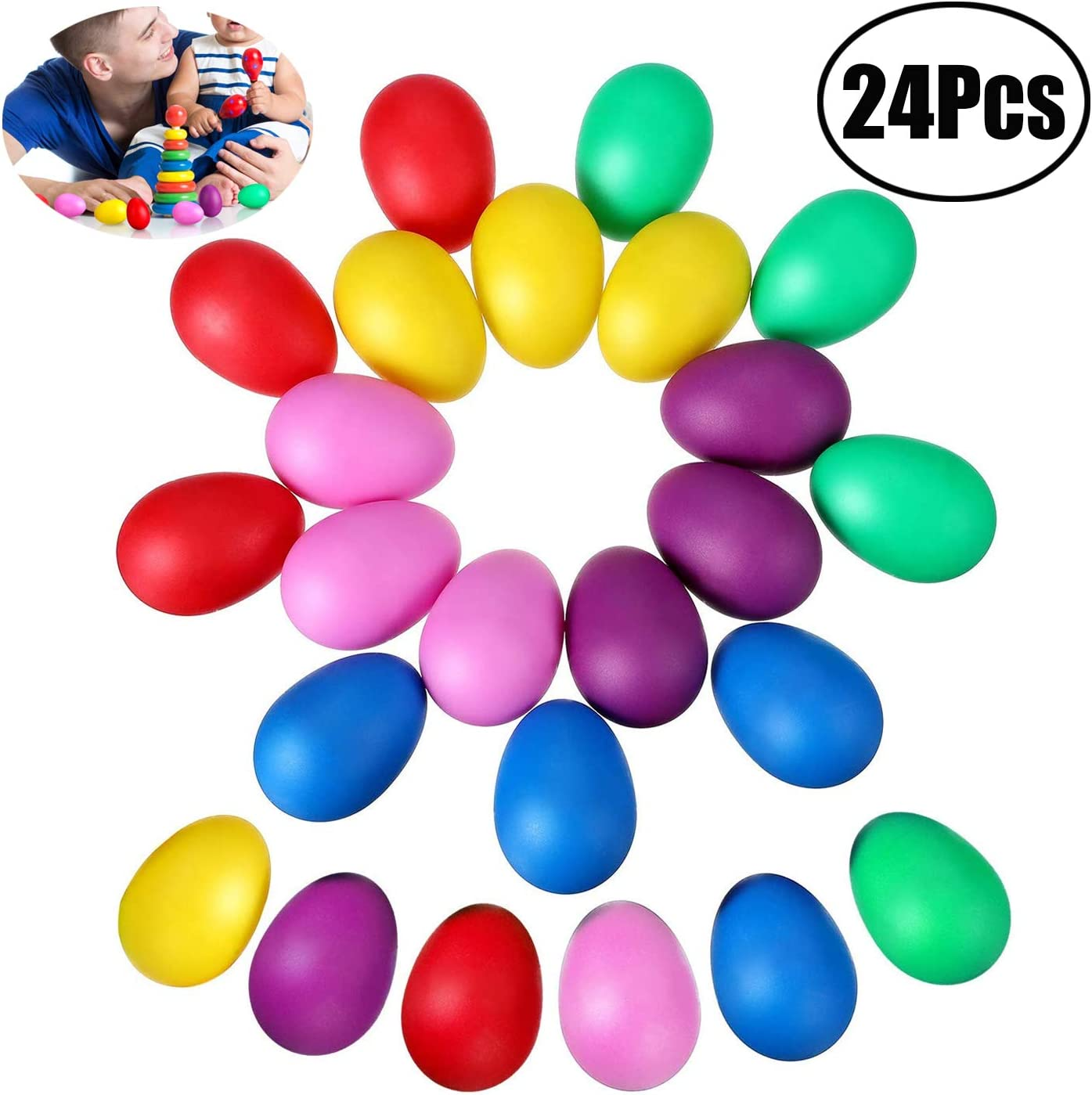 8 Colors Plastic Percussion Musical Egg cococity 16 Pieces Egg Shaker Set Colorful Maracas Eggs Plastic Egg for Easter Party Bag Fillers Party Favors Musical Toys