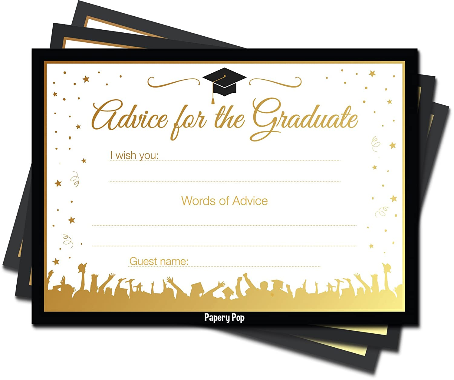 graphic relating to Free Printable Graduation Party Games named Papery Pop 2019 Commencement Tips Playing cards for The Graduate (30 Rely) - Substantial College or university or College or university Commencement Social gathering Game titles Functions Invites Decorations
