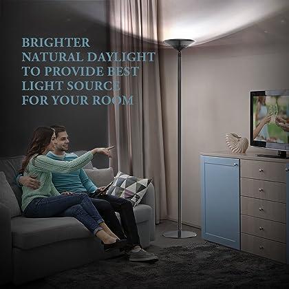 Avantica led torchiere floor lamp 30w 5500k natural daylight 4200 lumenstouch