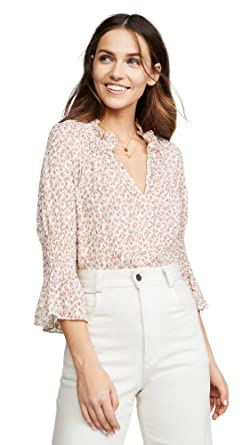 20c345be9c7 Rebecca Taylor Women's Short Sleeve Francesca Ruffle Top, Cream Combo,  X-Small