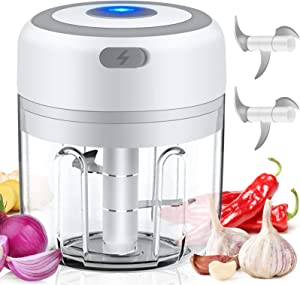 SHSTFD Electric Mini Garlic Chopper, 250ML Food Slicer And Chopper, Portable USB Waterproof Garlic Blender Food Processor For Chili Meat Nuts Pepper Vegetable