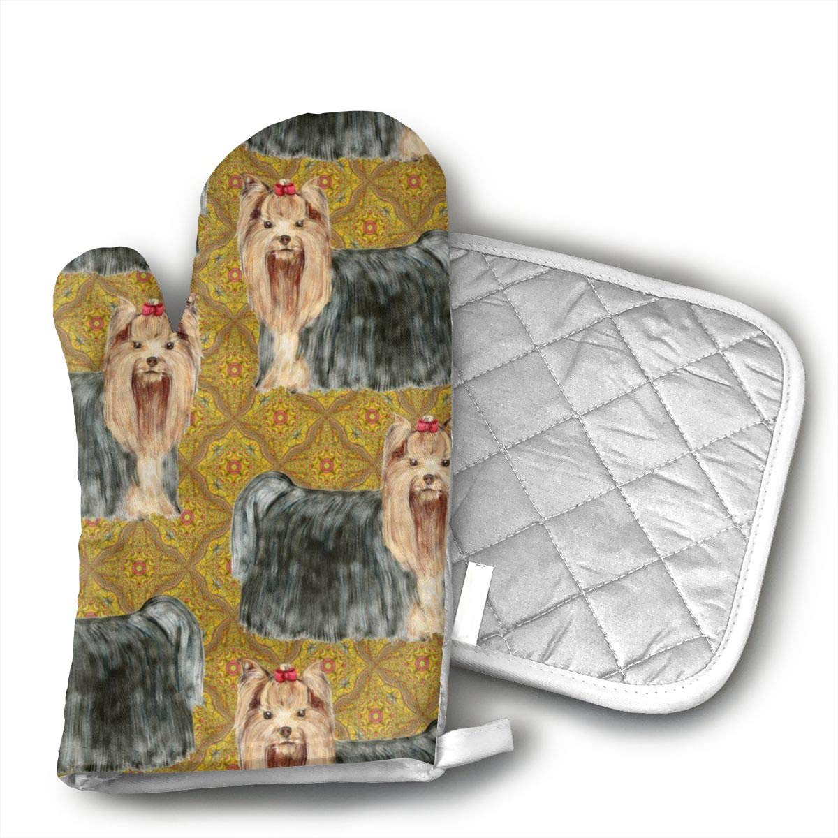 Sjiwqoj8 Yorkies Kitchen Oven Mitts,Oven Mitts and Pot Holders,Heat Resistant with Quilted Cotton Lining,Cooking,Baking,Grilling,Barbecue