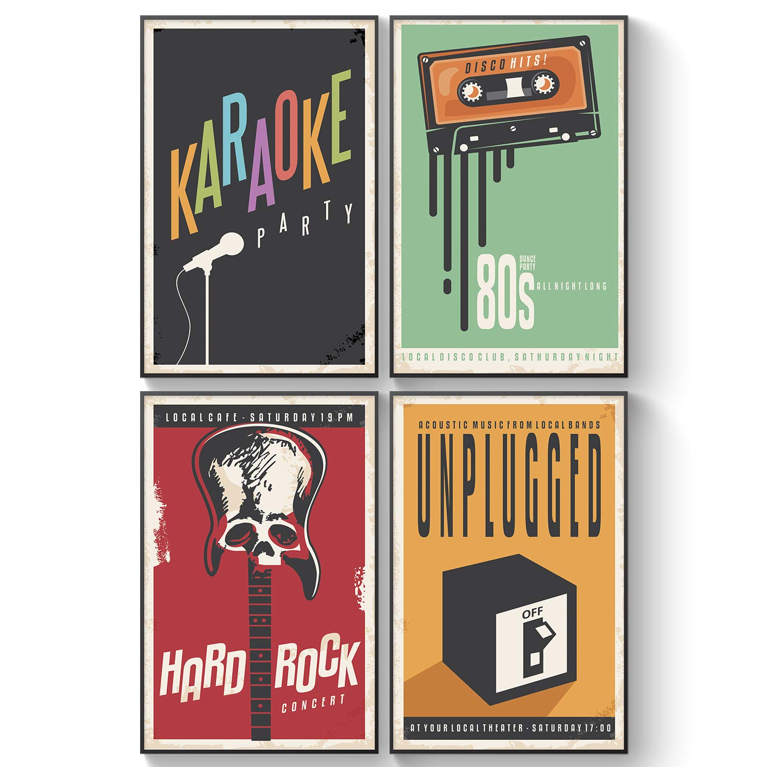 Pillow & Toast Retro Music Decor for Kids Bedroom, Set of Four, 11x17, 80's  Band Tour Classic Posters