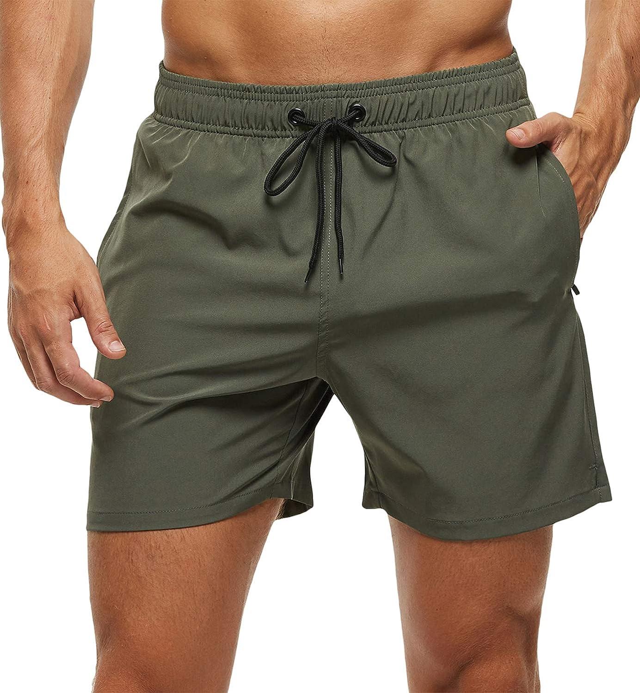 BESUMA Mens Printed Swim Trunks Beach Shorts with Drawstring