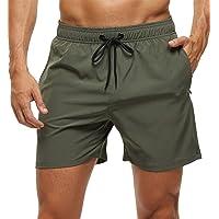Tyhengta Men's Swim Trunks Quick Dry Beach Shorts with Zipper Pockets and Mesh Lining