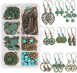 SUNNYCLUE 1 Box DIY 8 Pairs Blank Stamping Tag Dangle Earring Jewelry Making Starter Kit for Women Girls Beginners Adults Red Copper Nickel Free
