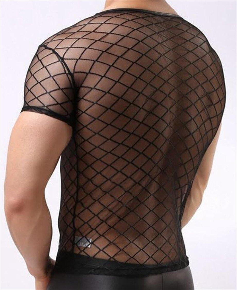 M/&S/&W Mens Fish Net See Through Check Home Lounge T-Shirt Tee Top