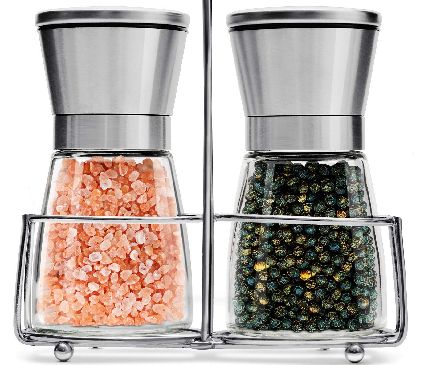 Salt and Pepper Grinder Set with Stand | Best Salt and Pepper Shakers - Adjustable Coarseness & Ceramic Mechanism - Premium Quality Stainless Steel & Glass - Salt and Pepper Mill - Perfect for Kitchen QWESEN
