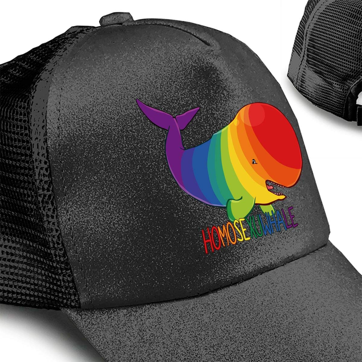 Colorful Whale Ponytail Messy High Bun Hat Ponycaps Baseball Cap Adjustable Trucker Cap Mesh Cap