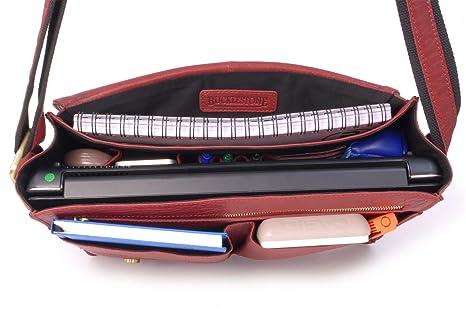 Bubble Cuir M Sac Epaule//Messenger//Gibeci/ère Lancaster Compatible pour iPad//Tablettes//Ordinateur Portable BUCKLESTONE - Rouge
