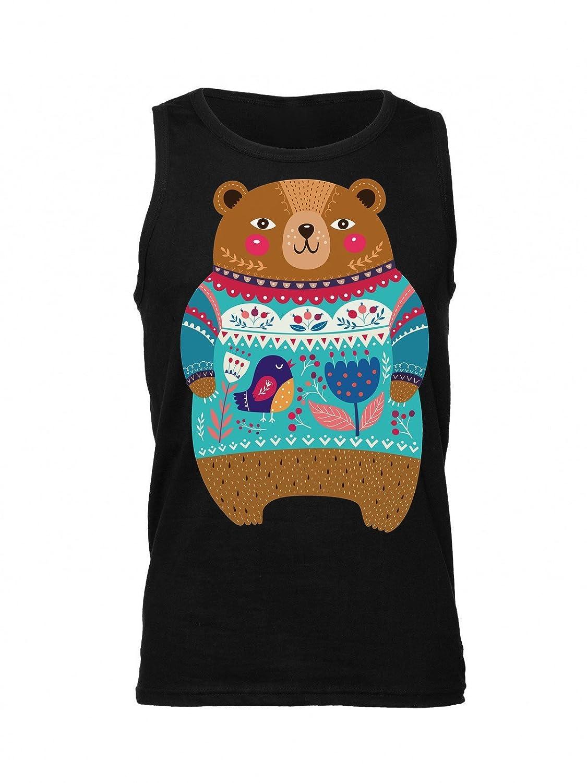 Etno Patterned Adorable Bear Mens Tank Top Shirt