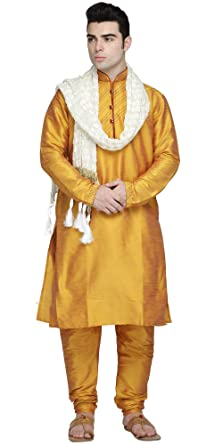 SKAVIJ Uomo Seta dArte Kurta Pigiama Set Vestito Tradizionale Indiano