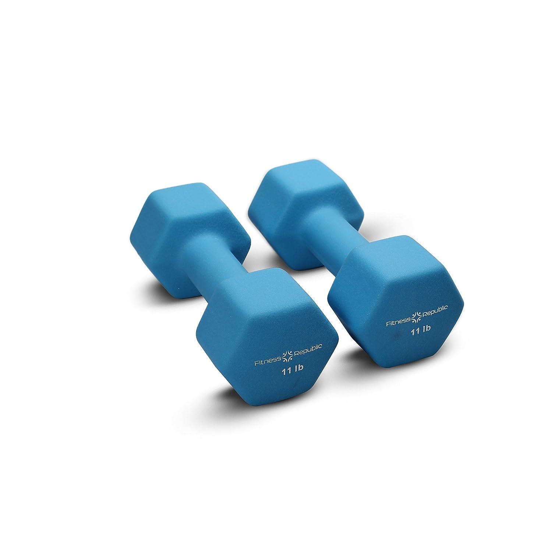 Fitness Republicネオプレンコーティングダンベルセット(6角形ハンドウェイト ) B011NSWE9C (Neoprene) 11 lbs - Bright Blue