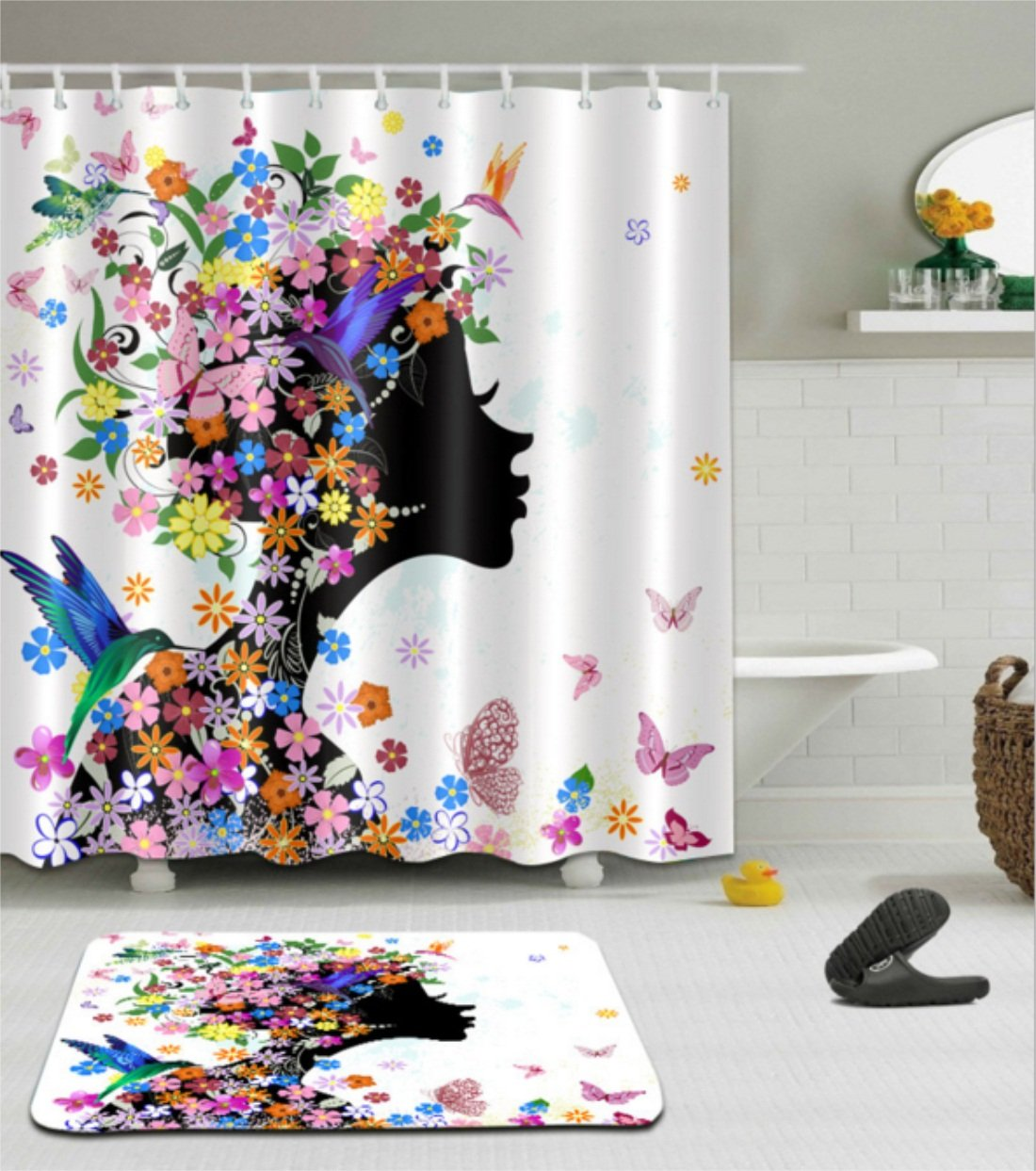 71 W x 71 L Chengsan Butterfly Shower Curtain Girl Decor by Girl Fashion Flowers with Butterflies Ornamental Floral Foliage Nature Forest Design Polyester Fabric Bathroom Set with Hooks
