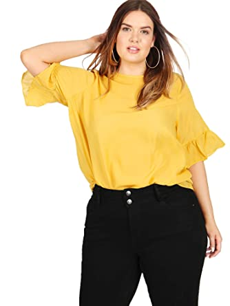 d8daad23179 Koko Women s Plus Size Mustard Yellow Blouse with 3 4 Frilled Sleeves ...