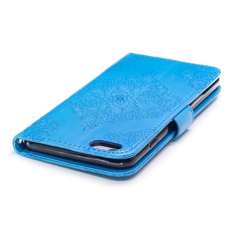Coque iPhone 6 Plus Rouge 6s Plus /Étui 6s Plus Slynmax /Étui Porcelaine Bleue et Blanche Motif Housse en Cuir Ultra-mince avec La Fonction avec Porte-cartes pour Apple iPhone 6 Plus