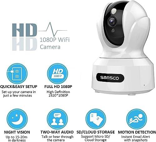 SANSCO 2MP 1920x1080p Indoor Wireless Security Camera Home Monitor WiFi Camera