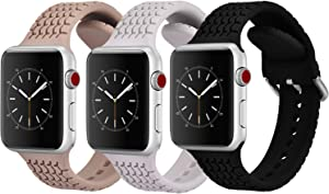 CAGOS Compatible with Apple Watch Bands 38mm 40mm Women Men, 3 Packs Sport Loop Waterproof Silicone Replacement Straps Wristband for iWatch Series 5/Series 4/3/2/1 (Black/Walnut/Light Gray, 38mm/40mm)