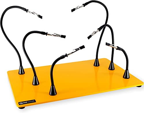 QuadHands Jumbo Workbench – Helping Hands Third Arm Soldering Work Station EXtra Large Heavy No Tip Base Plate 6 Flexible Magnetic Arms with Precision 360 Degree Alligator Clip Made In USA