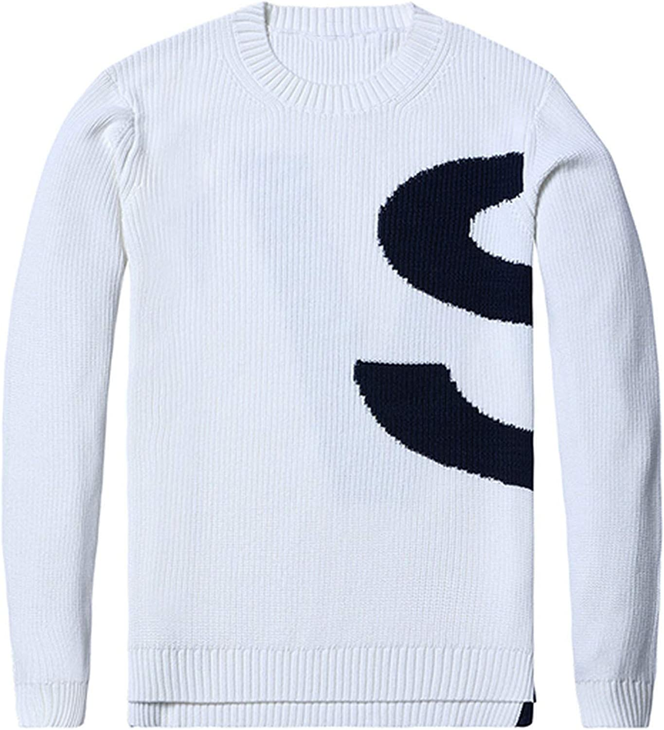 SHILINWEI 2019 Winter Sweater Men Knitted Pullovers Men Fashion Contrast Color Letter Printed