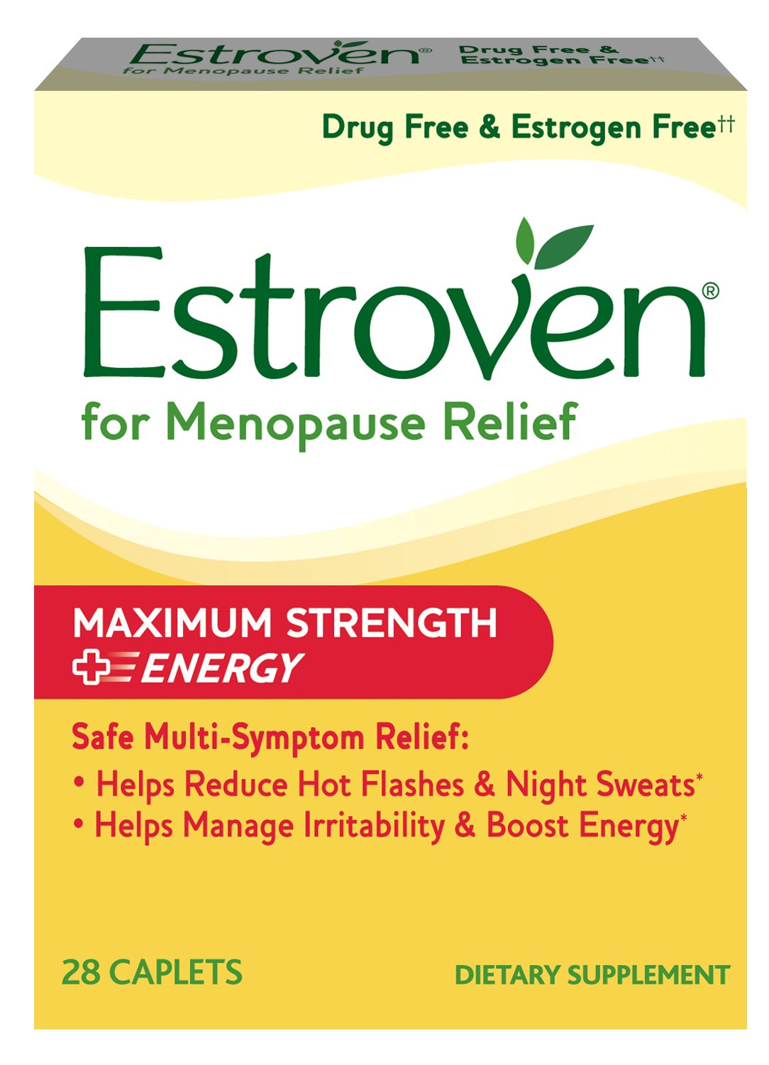 Estroven Maximum Strength + Energy formulated for Menopause Symptom Relief* – Helps Reduce Hot Flashes and Night Sweats* – Helps Manage Irritability and Boost Energy* - 28 Caplets