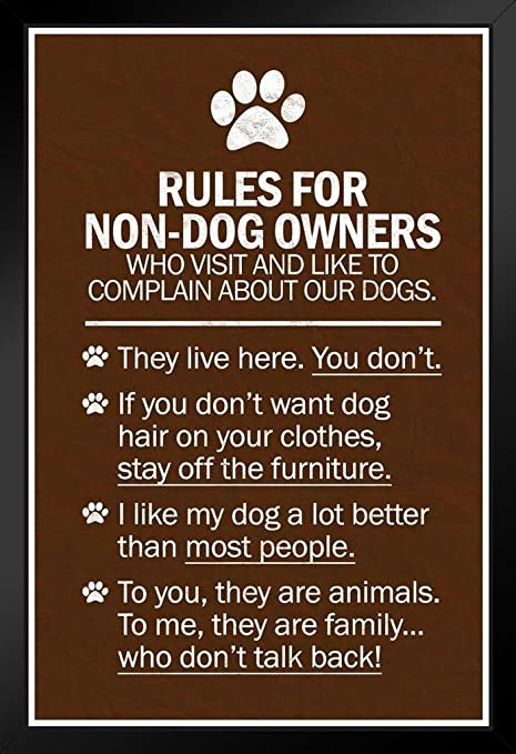 Dogs Rules For Non Dog Owners Black Wood Framed Art Poster 14x20 Posters Prints