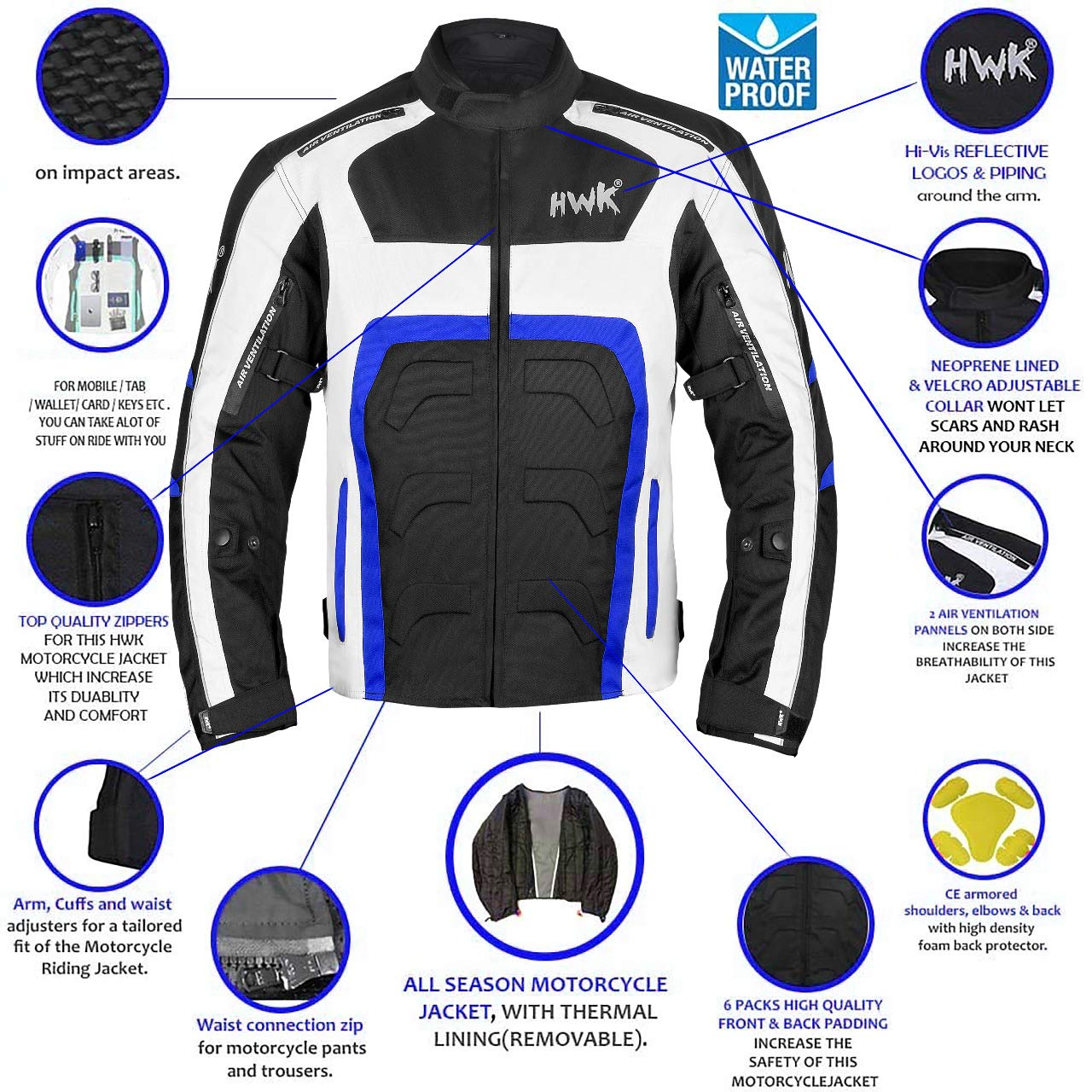 cca7eb71b65 Amazon.com  HWK Textile Motorcycle Jacket Motorbike Jacket Biker Riding  Jacket Cordura Waterproof CE Armoured Breathable Reissa Membrane -  Removable Thermal ...