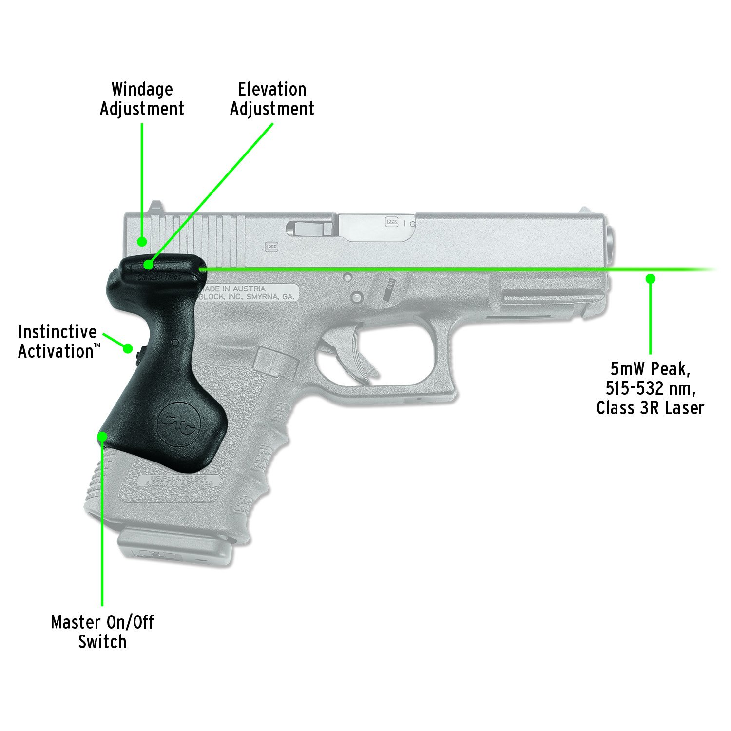 Crimson Trace LG-639G Lasergrips Green Laser Sight Grips for GLOCK Compact Pistols 19, 23 etc. by Crimson Trace