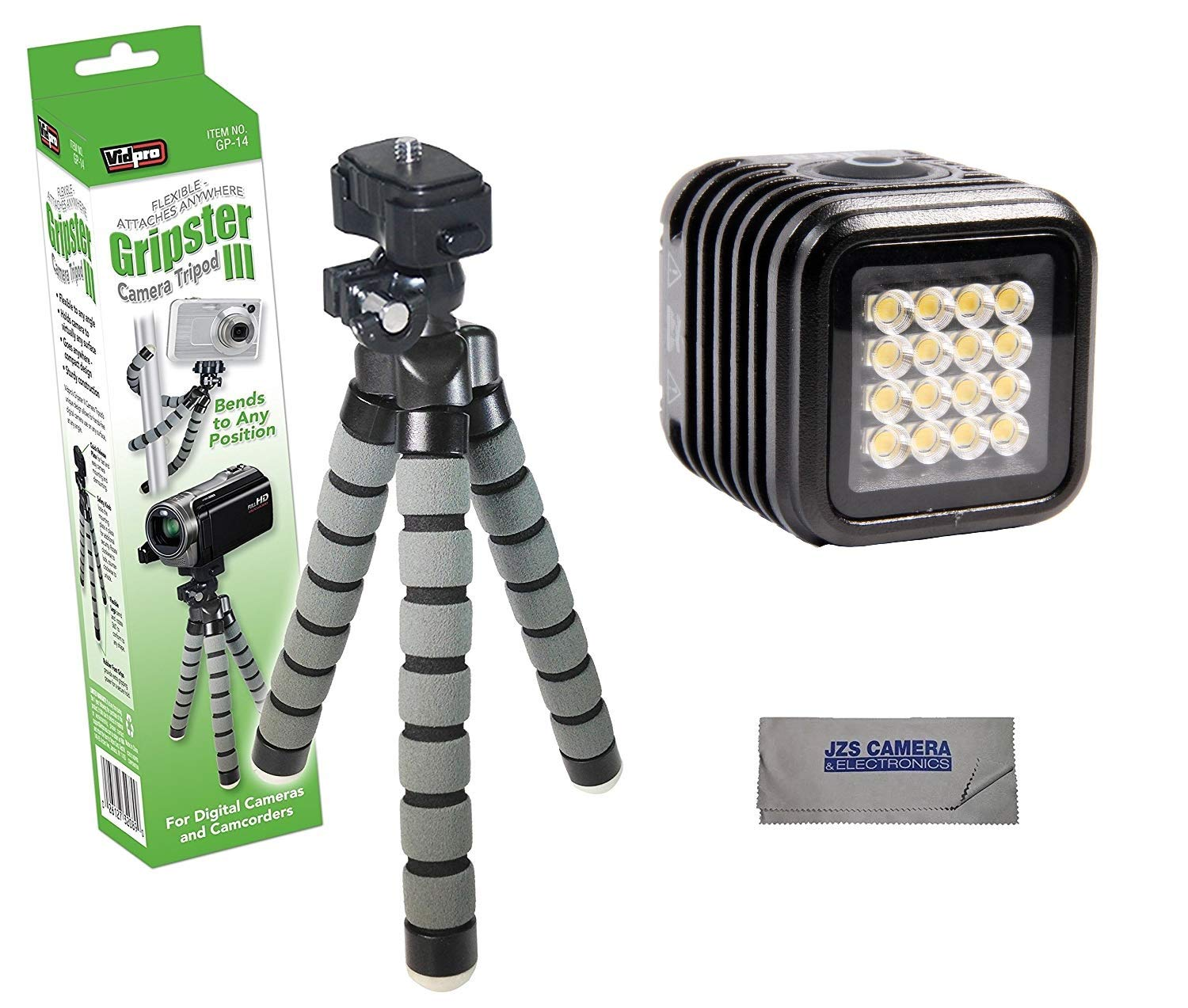 LitraTorch 2.0 Waterproof Dimmable 16-LED Video Light for Smartphone Cameras Bundle with VidPro GP-14 Tripod Kit